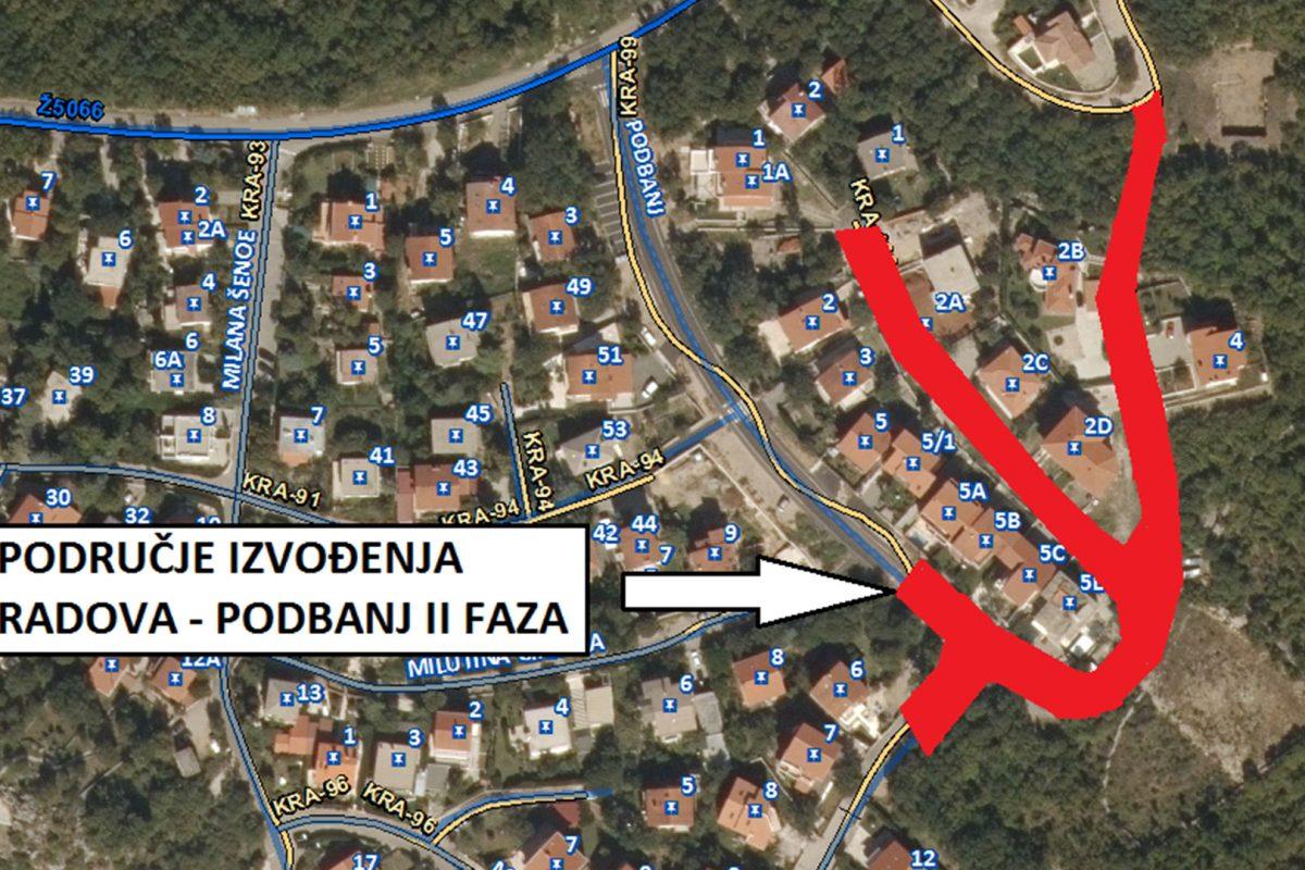 Obavijest o početku radova – Rekonstrukcija ulice Podbanj – Faza II, Kraljevica
